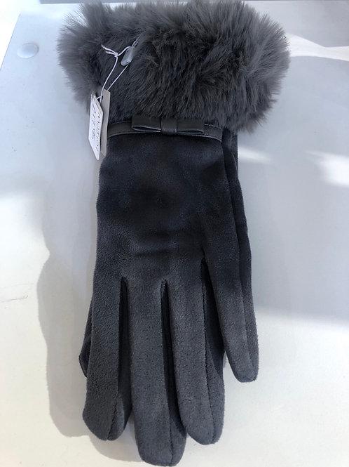 Envy - faux suede fur detail charcoal grey gloves