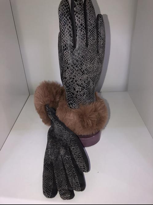 MSH - Grey snake print gloves