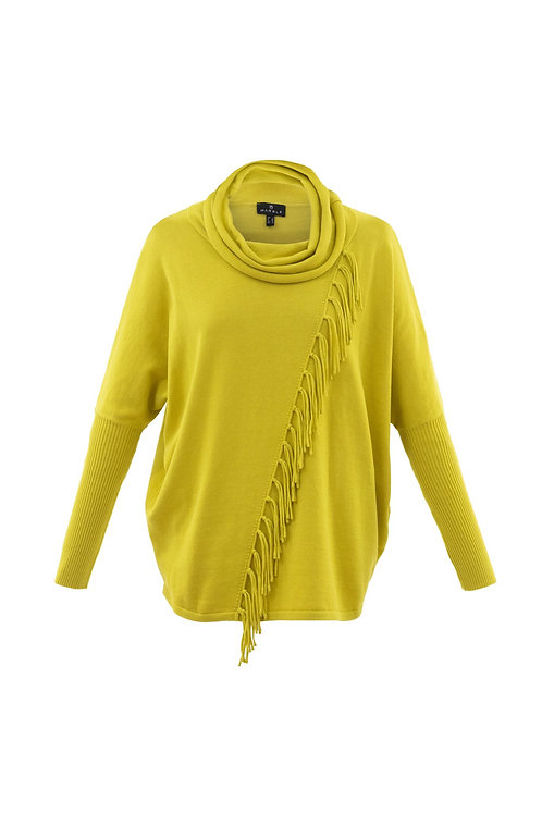 Marble - Yellow cowl neck jumper with fringe detail