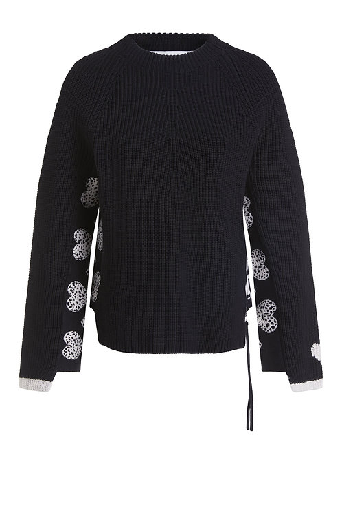 Oui - Black knitted jumper with hearts in sleeves