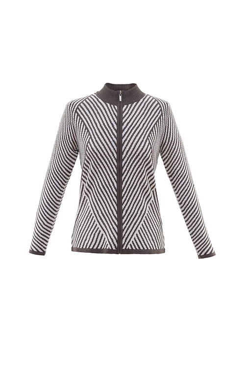 Marble - black and white zip up stripe jumper