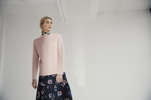 Sunday -  Powder pink jumper with stand up frill neckline