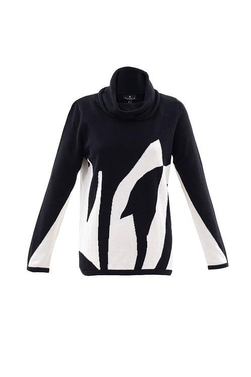 Marble - black and white cotton jumper