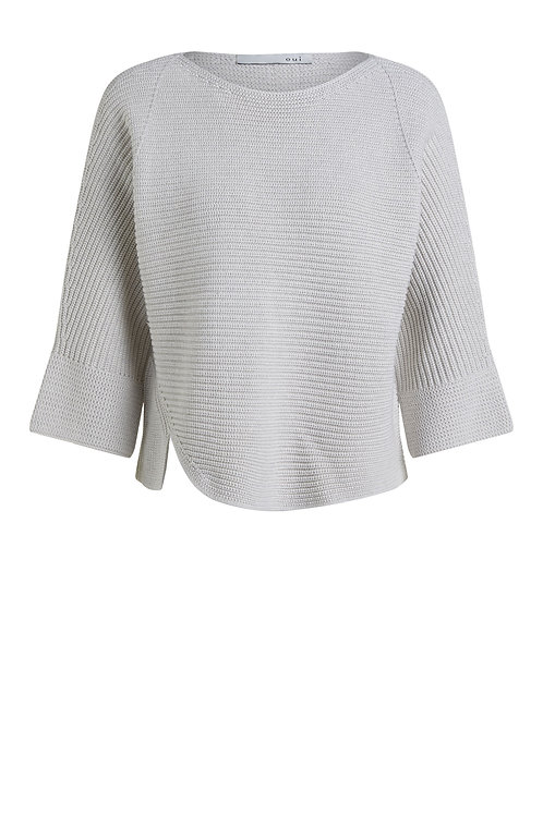 Oui - Stone knitted jumper with side vent detail