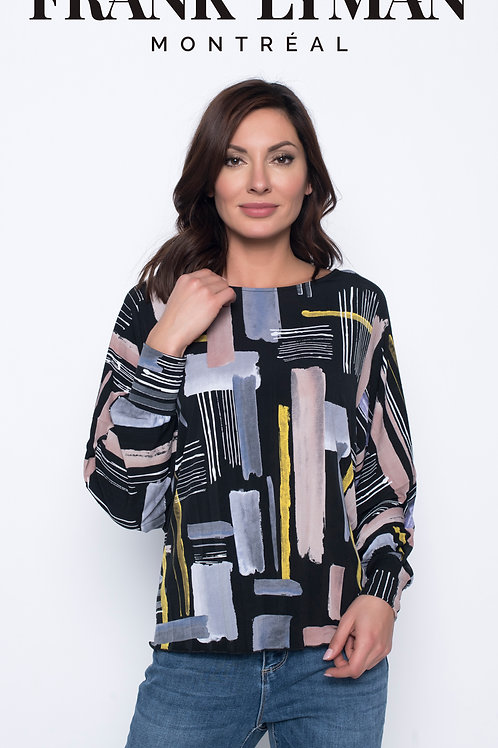 Frank Lyman - Black jersey top with multi coloured print to front