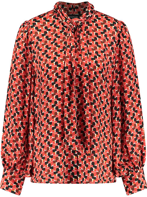 Taifun - Red, Black & White printed blouse