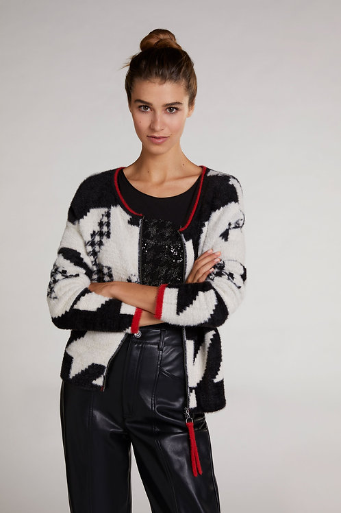 Oui - black, white and red printed cosy cardigan