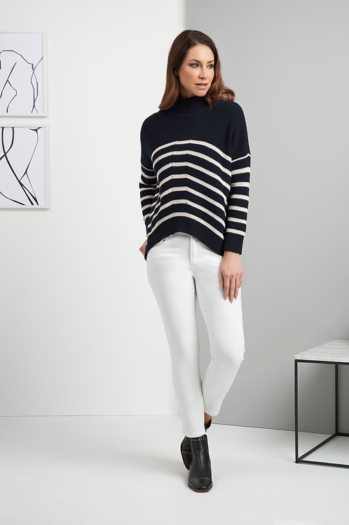 Foil - Navy and Ivory stripy chunky knitted jumper