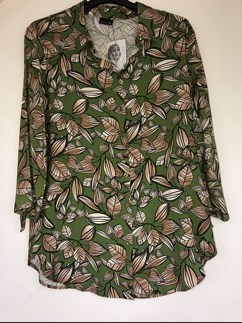 Betty Barclay - green leaf print blouse