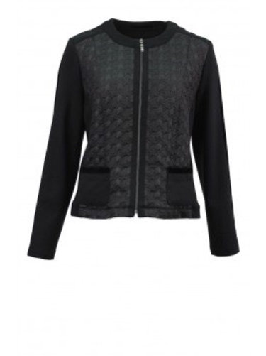 Just white - black quilted front jacket