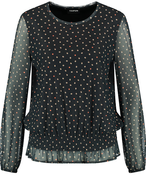 Taifun - Black spot blouse with sheer sleeves