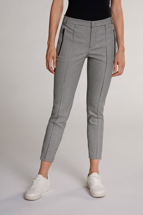 Oui - Black and White dogtooth print trousers