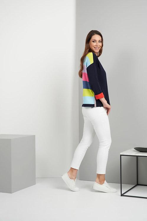Foil - Navy jumper multicoloured stripe back