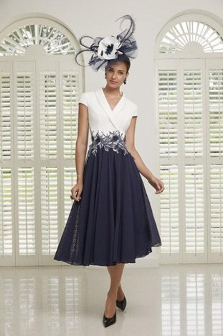 Veni Infantino -Navy spoty chiffon skirt with Ivory bodice