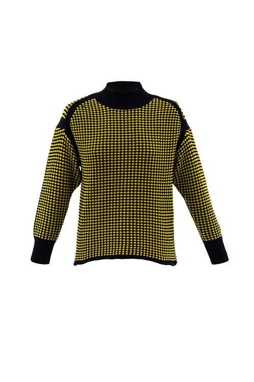 Marble - Black and yellow turtle neck printed chunky knit
