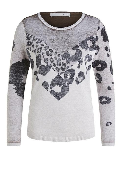 Oui - Beige animal print knitted jumper