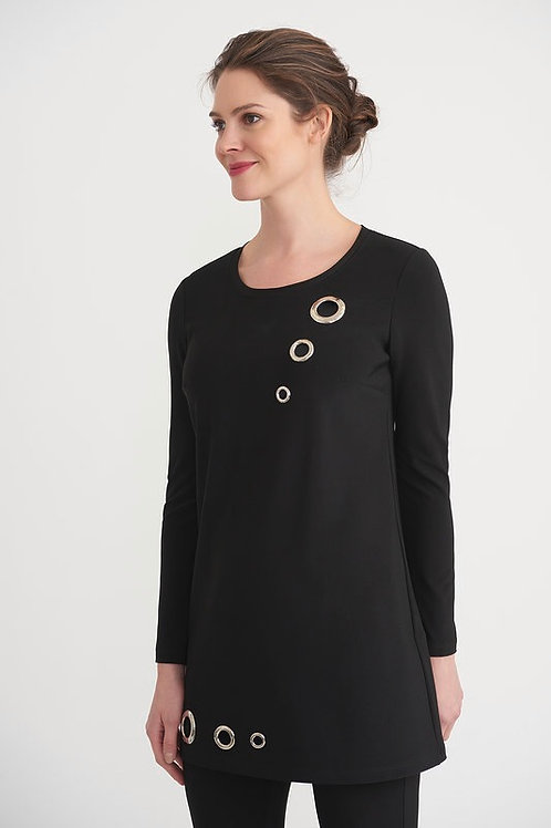 Joseph Ribkoff Eyelet Detail Black Top