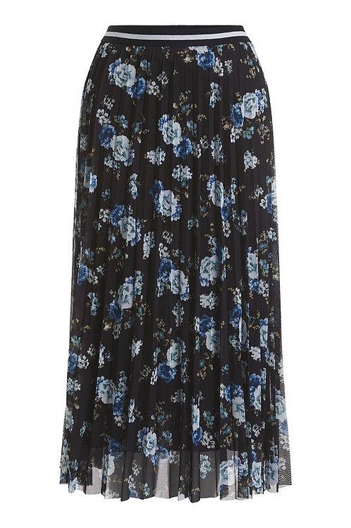 Oui - Black Floral Pleated Midi Skirt
