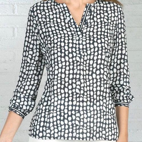 Bariloche - navy and white chiffon printed blouse