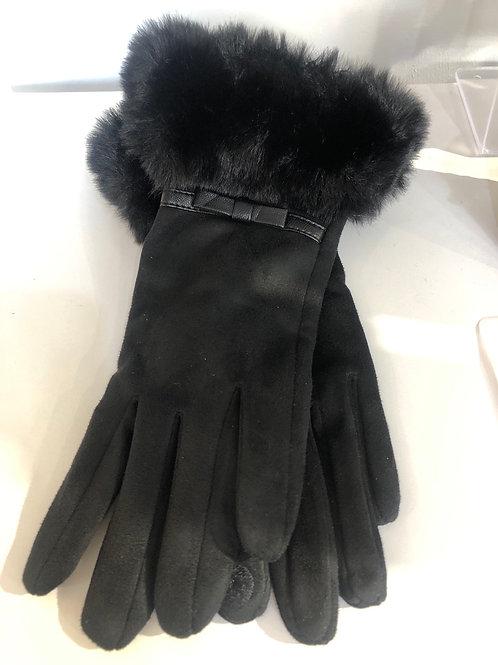 Envy - faux suede fur detail black gloves