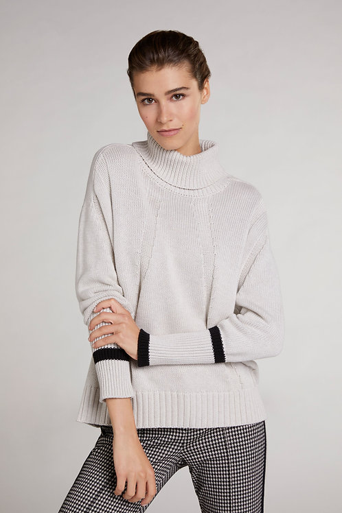 Oui - Stone roll neck jumper with stripe detail