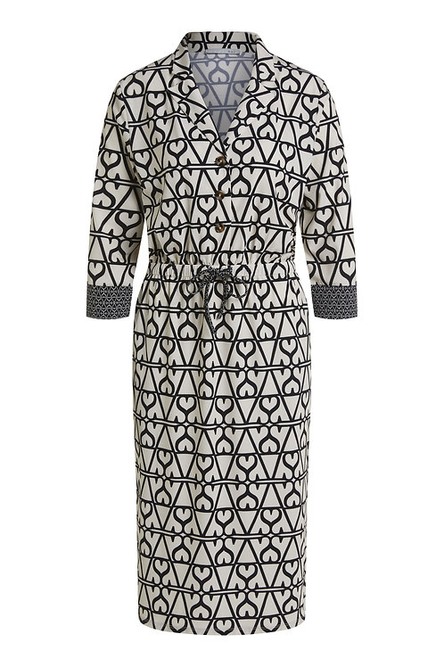 Oui - Printed off-white and black dress in jersey