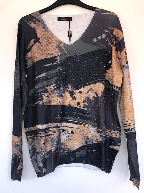Peruzzi - multicoloured fine printed knit with gem detail