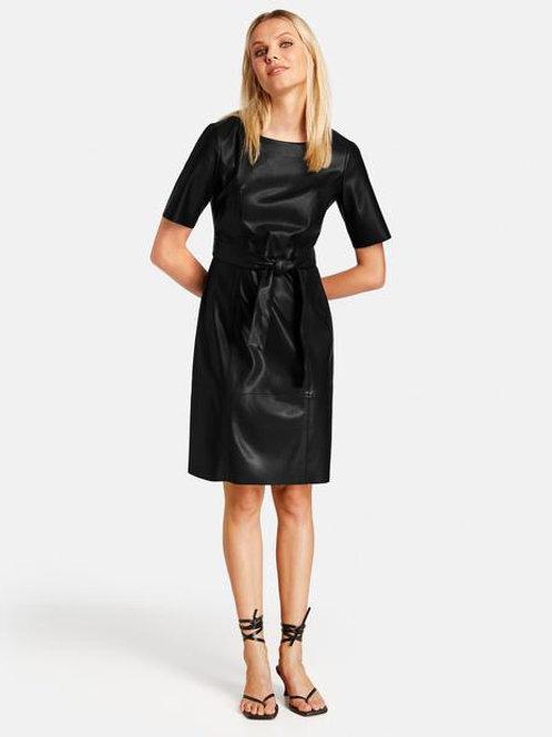 Taifun - Leather look cap sleeve dress