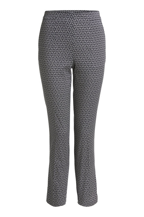Oui - Black trousers with off white print