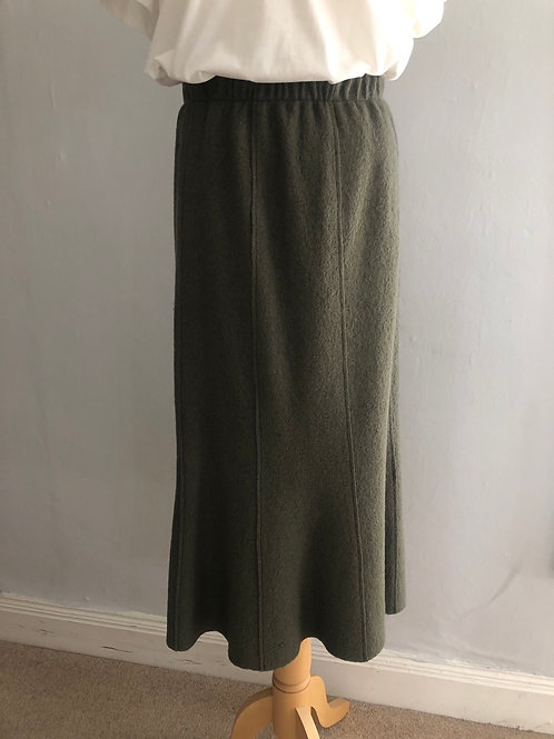 Q'neel - Khaki boiled wool pull on skirt