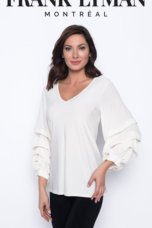 Frank Lyman - Ivory top with statement ruffle sleeves