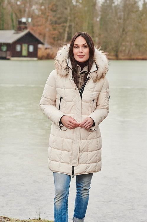 Barbara Lebek -Polar white puffa coat with fur trim