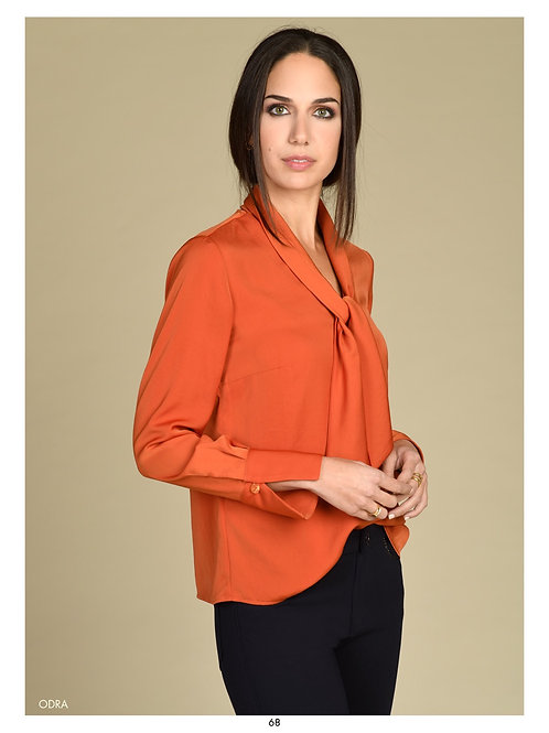 Bariloche - burnt orange tie neck blouse