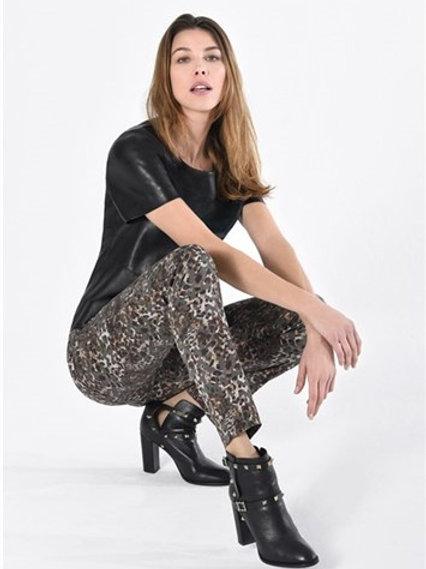 Robell - khaki multi colour print 'Rose' trouser