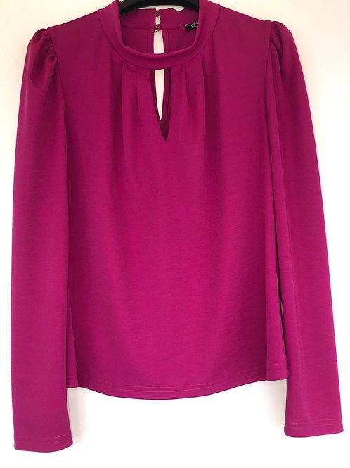 Estel - fushia pink rouched shoulder blouse
