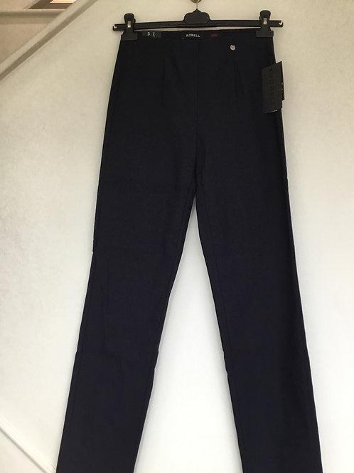 Robell - 'Marie' fleece lined navy classic leg stretch trouser