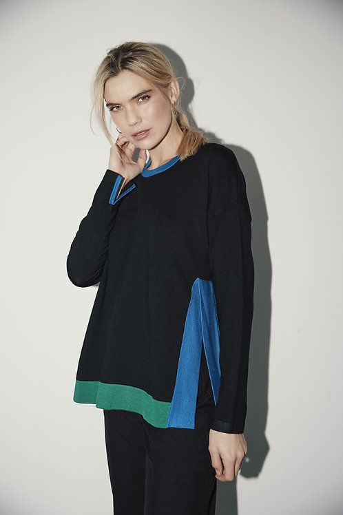 Sunday -  Black jumper with primary colour highlights