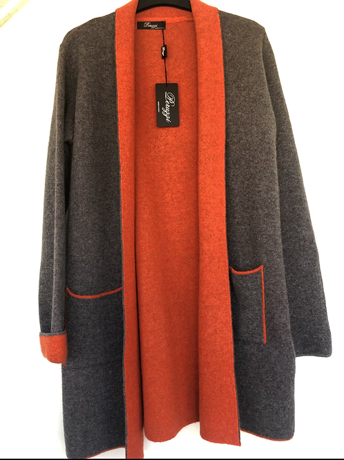 Peruzzi - Charcoal grey and orange long cardigan