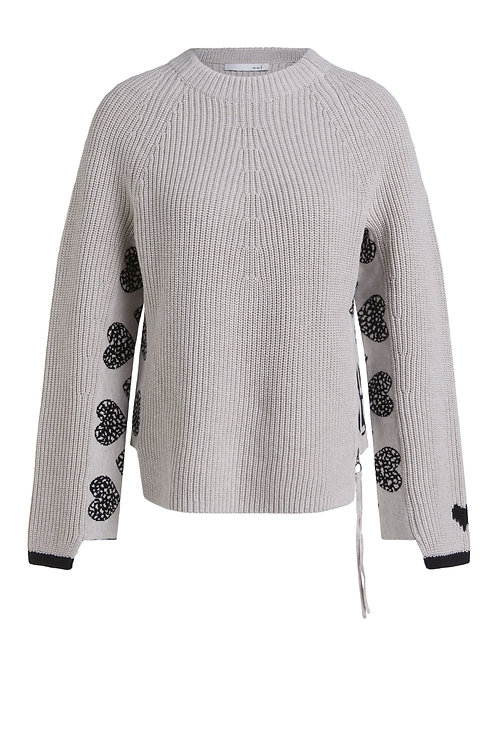 Oui - Stone knitted jumper with hearts in sleeves
