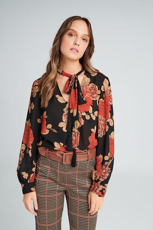 Badoo - multicoloured floral tie neck blouse