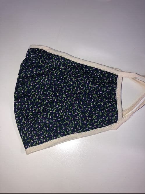MSH - navy floral print non medical fabric mask