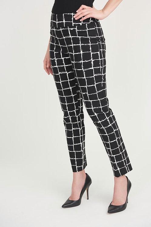 Joseph Ribkoff Black & White Check Print Trousers