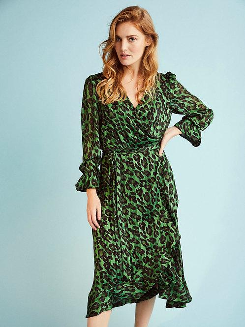 Molly-Jo - Emerald green satin organza animal print wrap dress