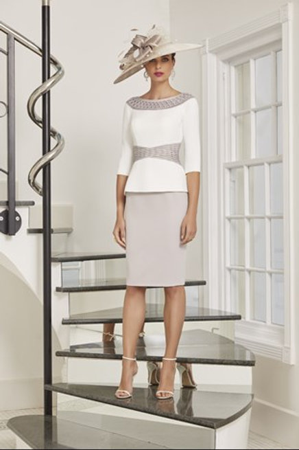 Veni Infantino - Dress with two piece look - Taupe/Ivory.