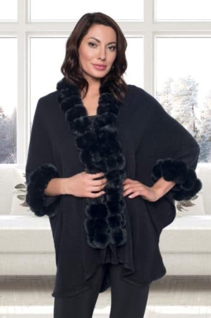 Frank  Lyman - Black faux fur ball wrap