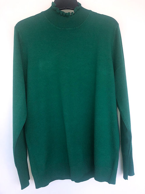 Sunday -  Emerald jumper with stand up frill neckline