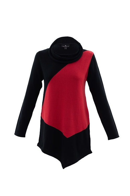 Marble - Black and red cotton jumper
