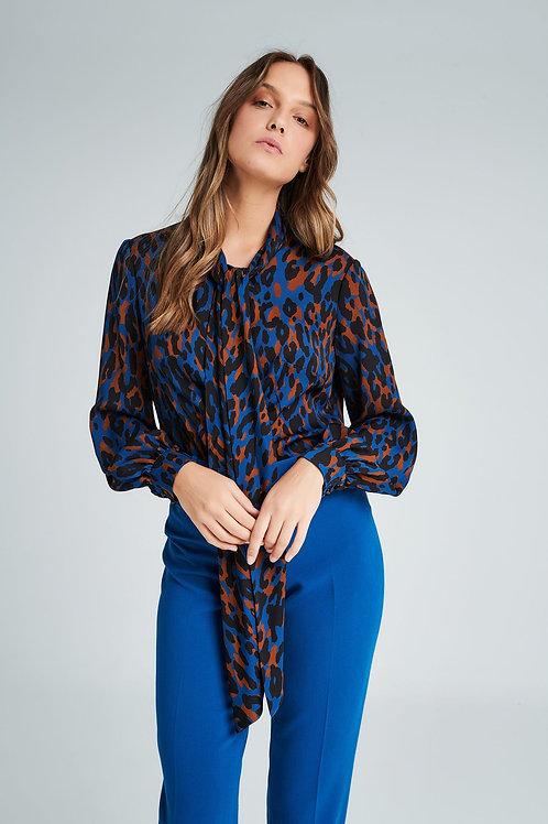 Badoo - blue animal print tie neck blouse