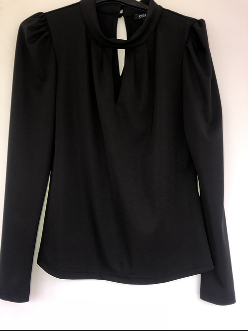 Estel - black rouched shoulder blouse