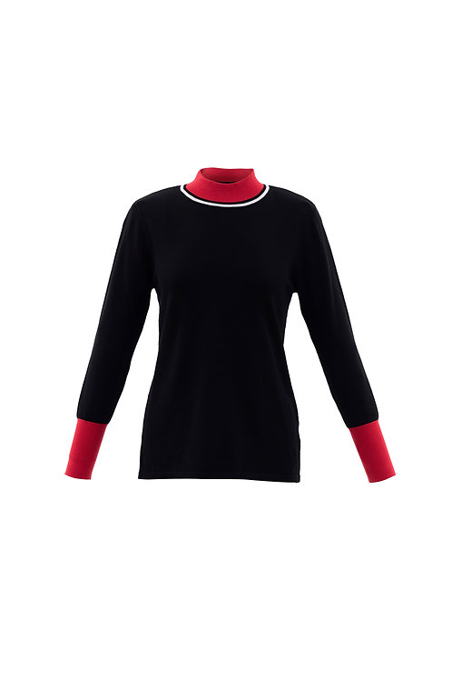 Marble - Black and red high neck jumper